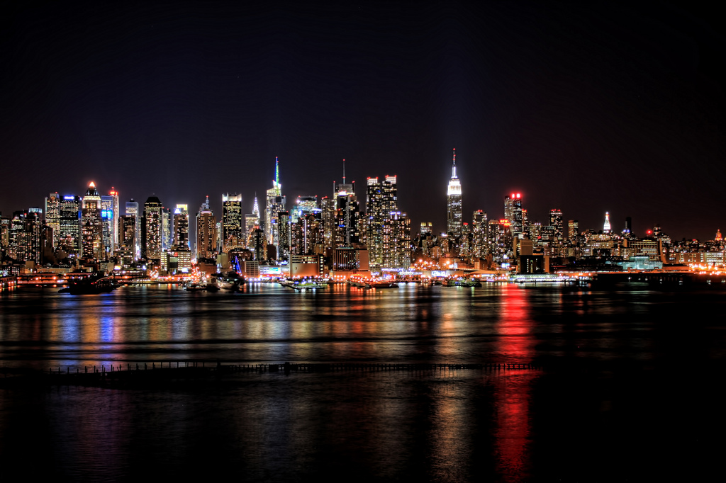 Manhattan's skyline at night.