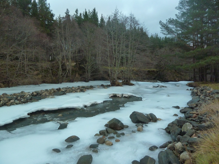 A river that has frozen over in the course of a cold winter.