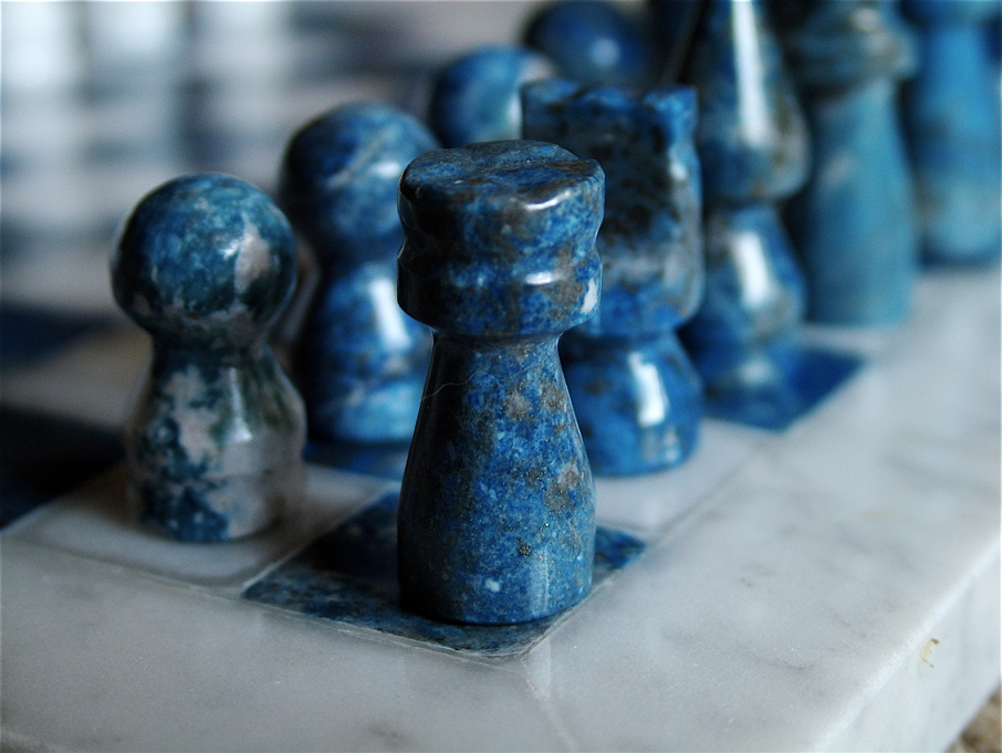 A marble chess set.