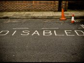 A parking space designated for disabled people.
