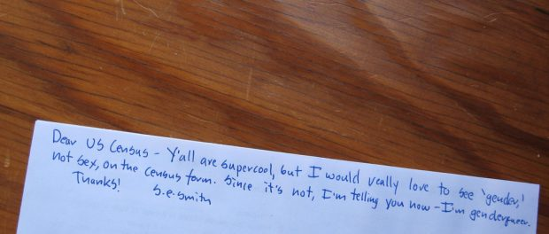 A note on my census reform expressing my disappointment about the lack of gender options.