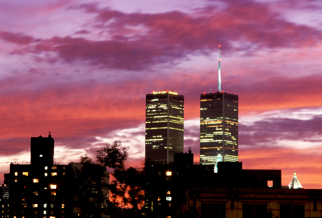 The Twin Towers silhouetted against a fiery sunset.