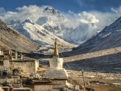 A view of Mount Everest from the grounds of a monastery.