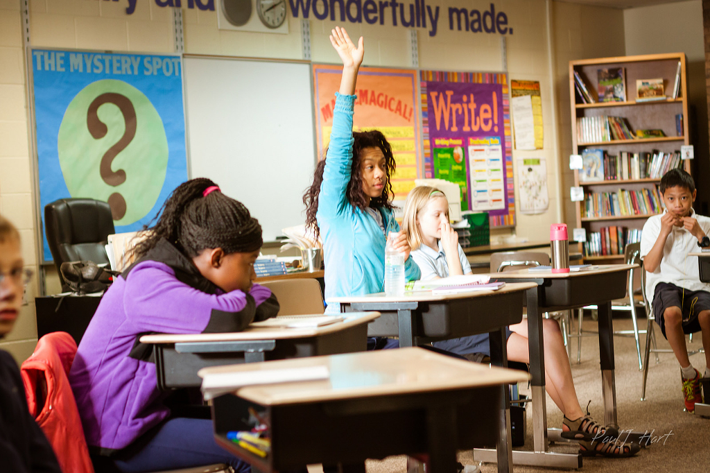 Students in a classroom. One, a dark-skinned student with wavy hair, is raising a hand excitedly.