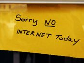 A handwritten sign advises the reader: Sorry no internet today.
