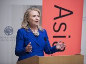 Secretary of State Hillary Clinton speaks at an event hosted by the Asia Society.