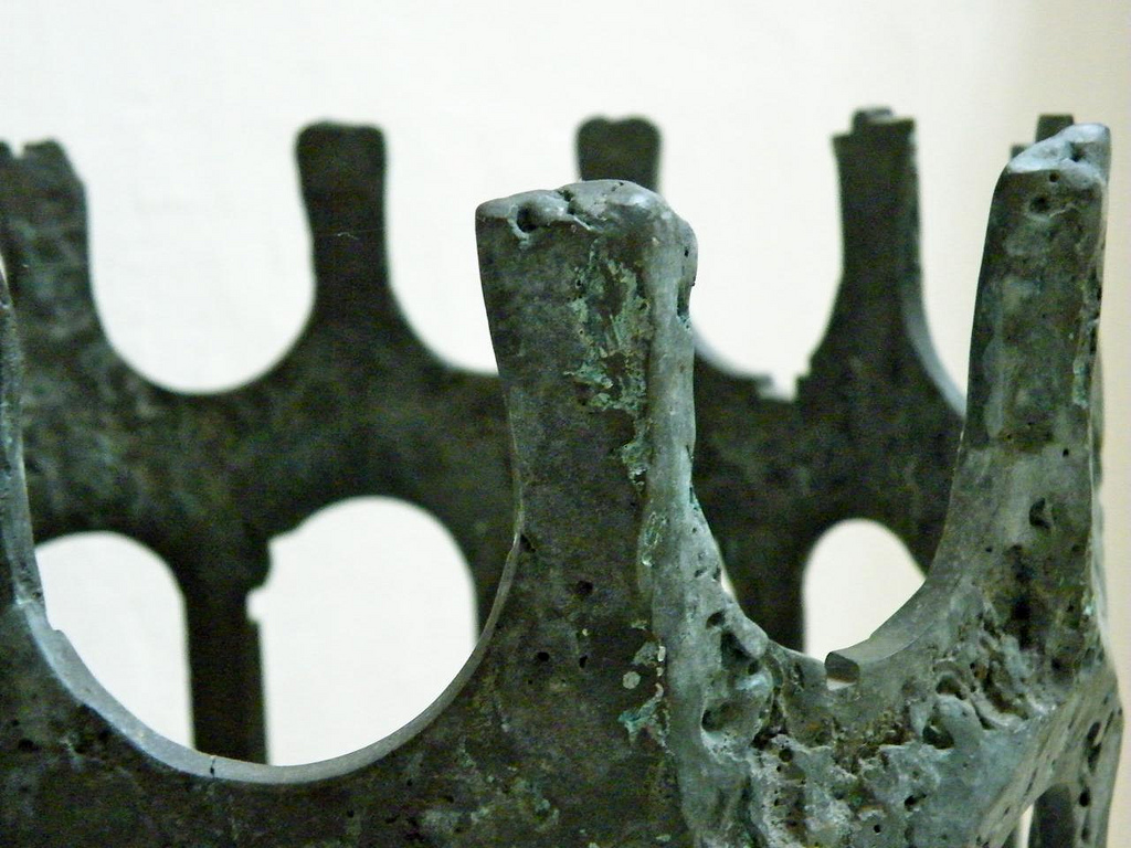 A weathered copper crown.