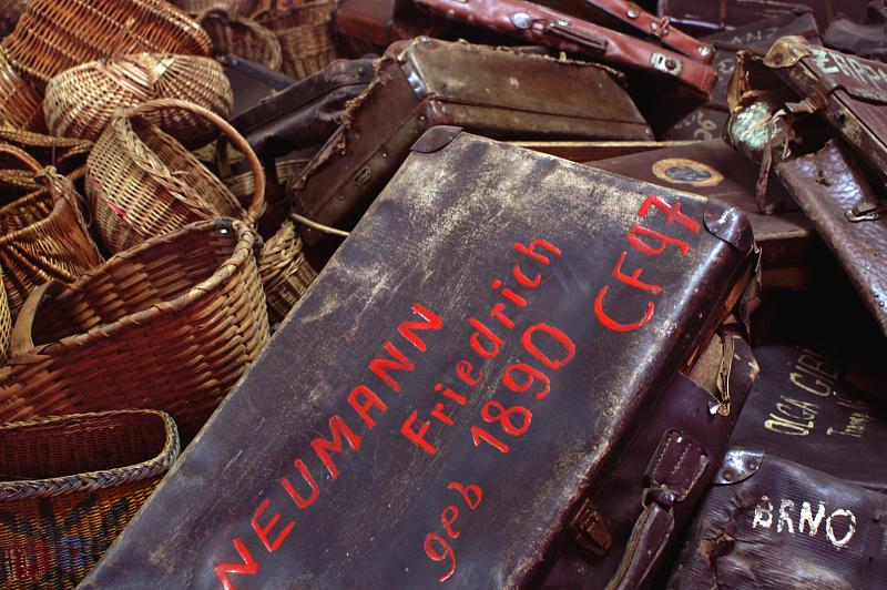 A view of seized luggage and baskets at Auschwitz.