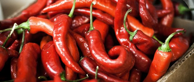 A box of red peppers.