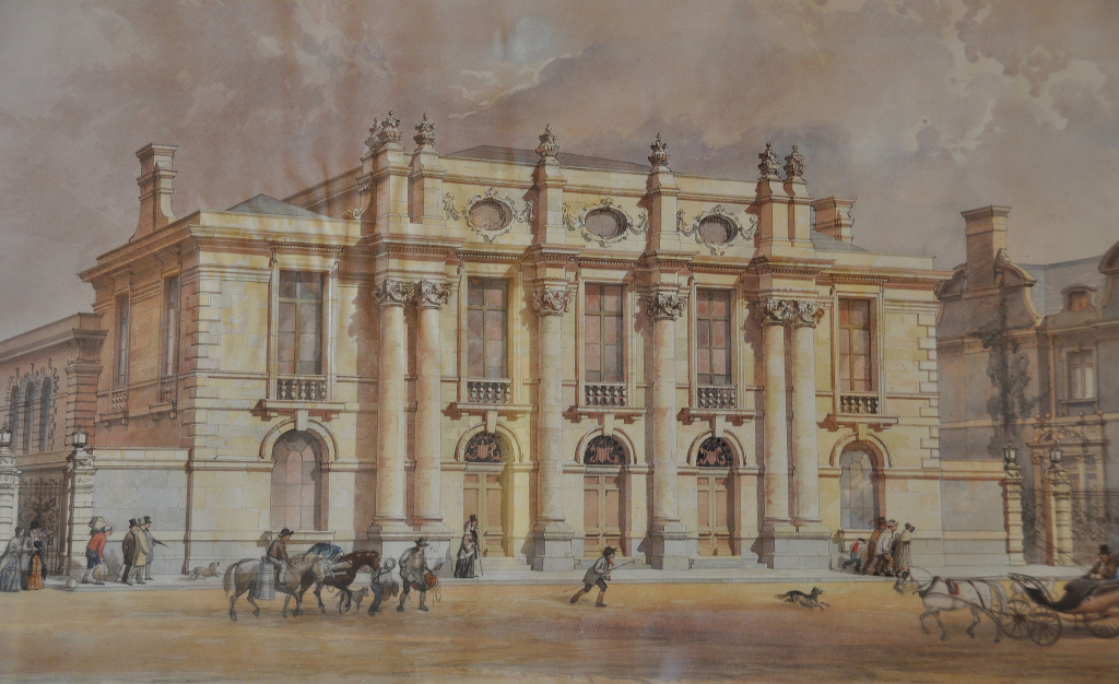 A watercolour painting of Cardiff Town Hall from the turn of the last century.