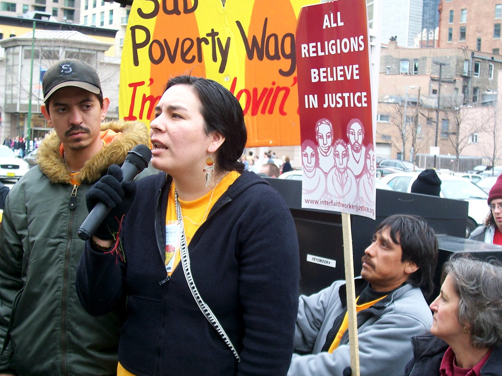 Immigrant workers at a march.