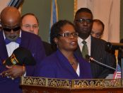 Members of the Philadelphia City Council speaking to the public.