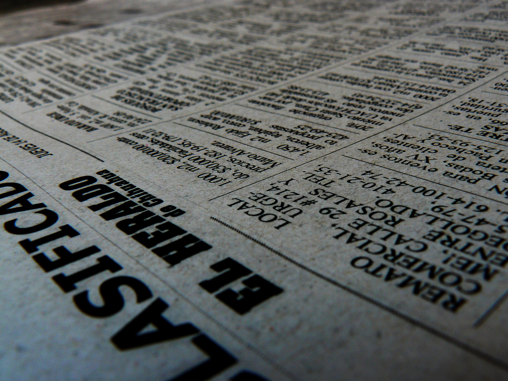 A newspaper viewed in closeup.