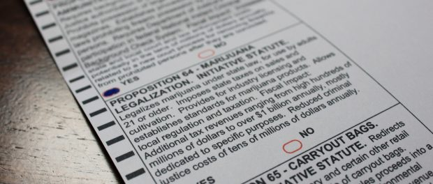 A California ballot marked yes on a proposition legalising marijuana.