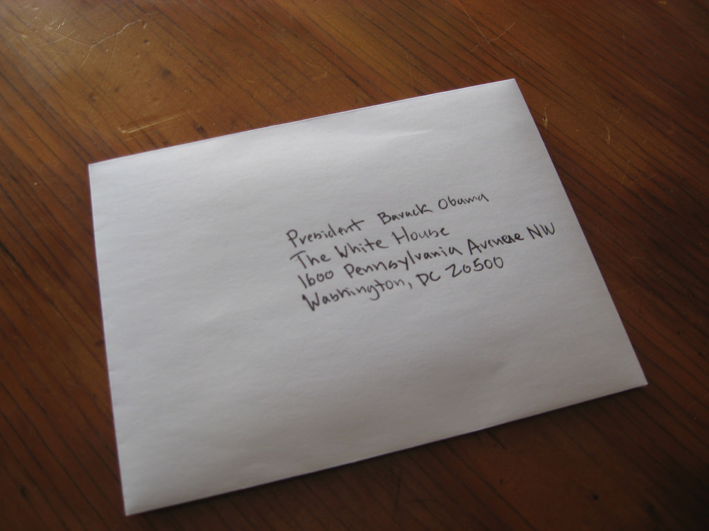 An envelope addressed to President Barack Obama.