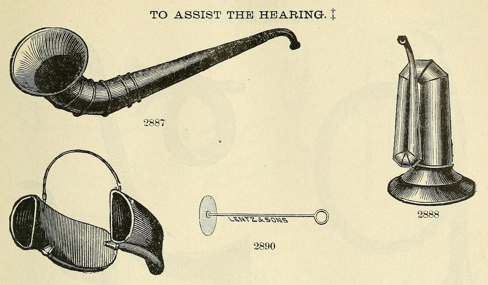 A diagram of hearing trumpets.