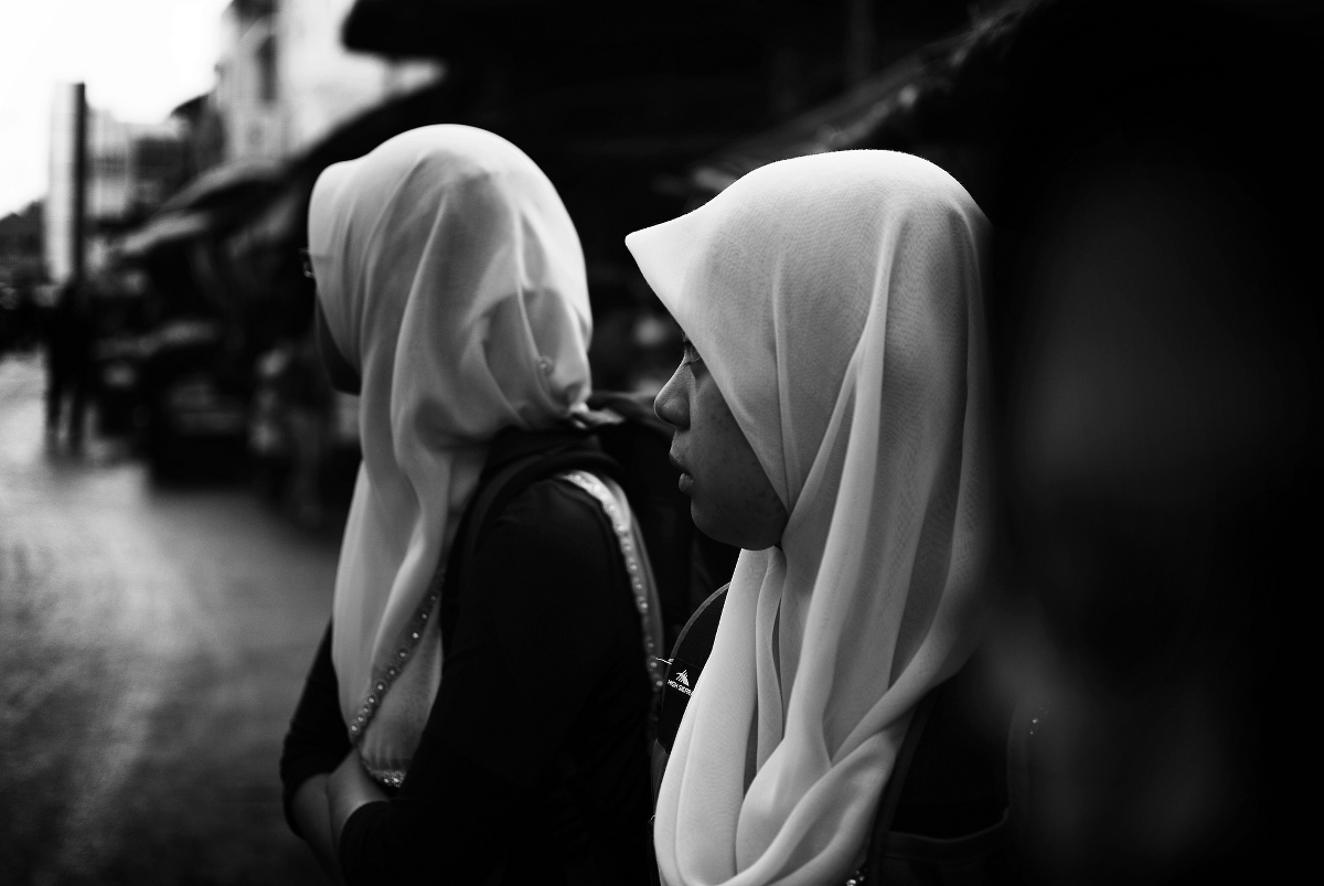 Two Muslim women wearing hijab.