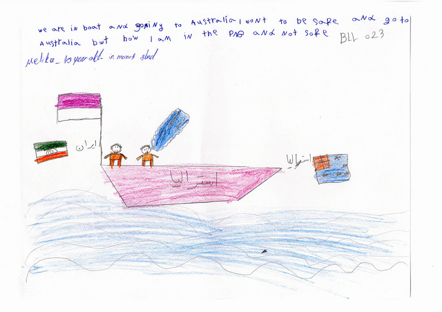 A ten-year-old girl's drawing of a boat heading towards the Australian flag. The drawing is captioned: We are in boat and going to Australia. I want to be safe and go to Australia but now I am in PNG and not safe.