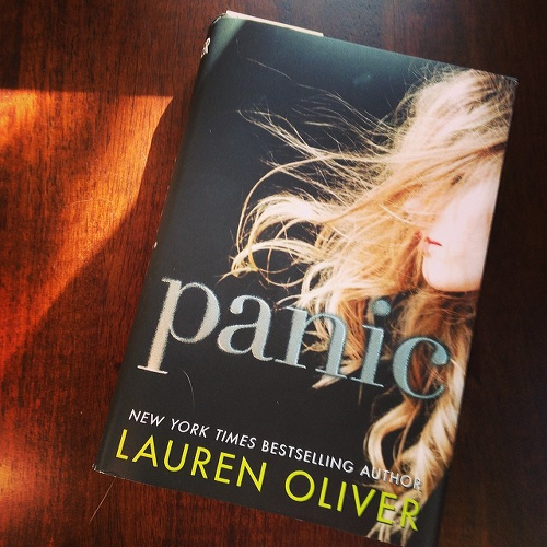 My copy of Lauren Oliver's Panic on the kitchen table.