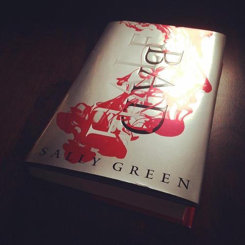 My copy of Sally Green's BAD BLOOD on the kitchen table.