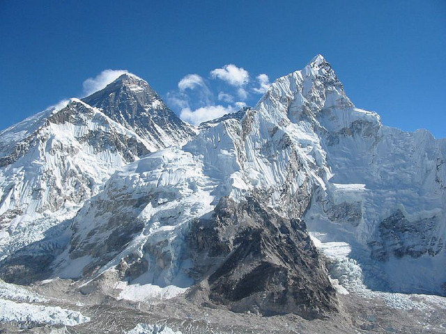 Mount Everest on a clear day.