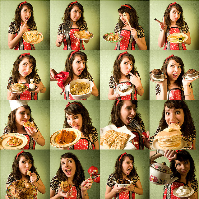 A series of photographs of a woman in an apron holding up various dishes and making silly faces.
