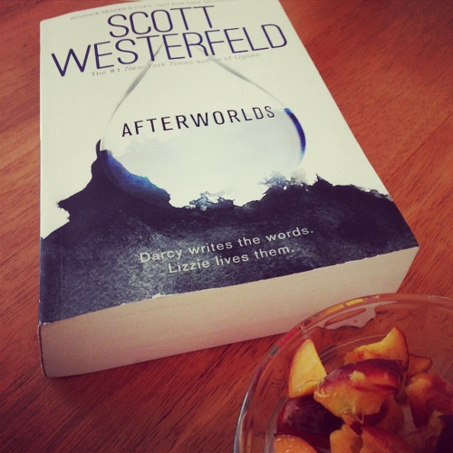 My copy of Afterworlds, sitting on the kitchen table.