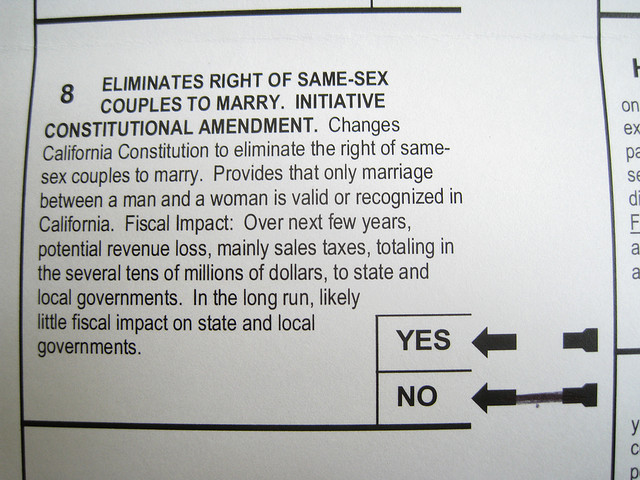 A California ballot, with the text of Proposition 8.