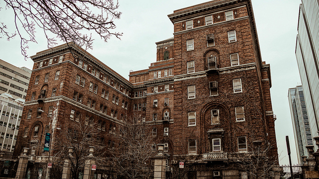 A shot of Bellevue Hospital, a large brick building.