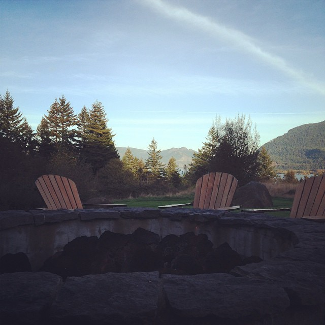 The view from the firepit at Skamania Lodge.