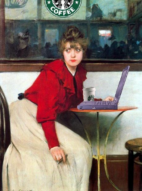 A photomanipulated painting, showing classic art with a laptop substituted for the original contents of a table.