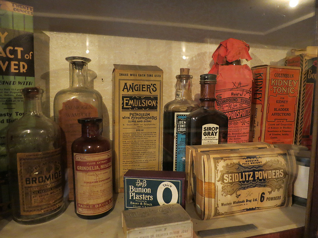 An array of vintage remedies, medications, and preparations