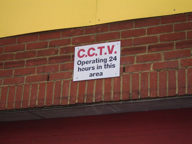 A sign warning that CCTV is in use