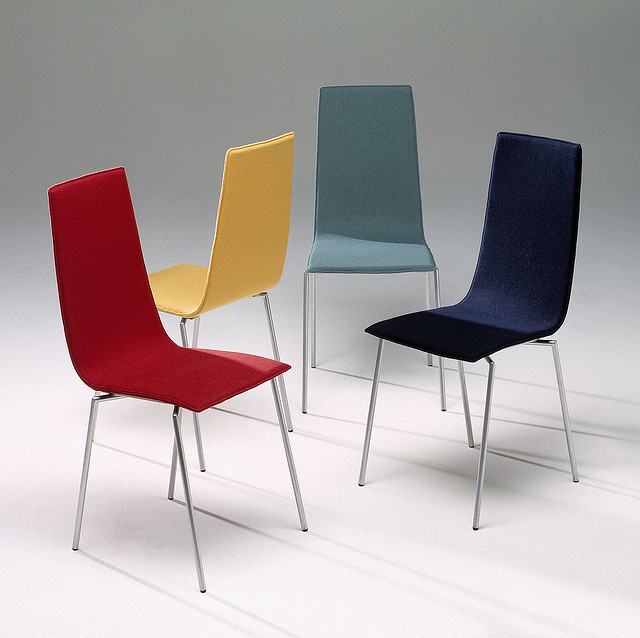 An assortment of multicoloured chairs.
