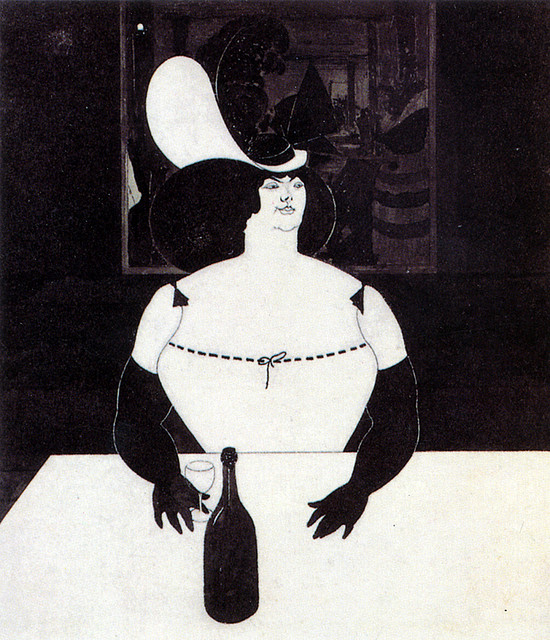 An Aubrey Beardsley illustration of a fat woman seated at a table