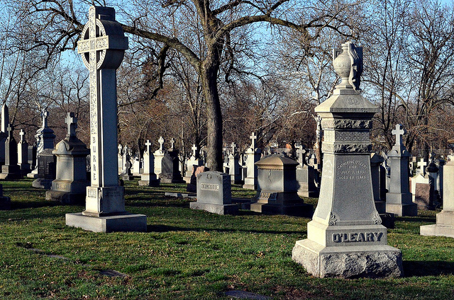 Headstones in a Chicago cemetery