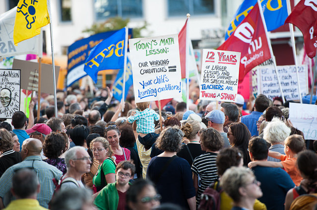 Striking teachers at a large rally