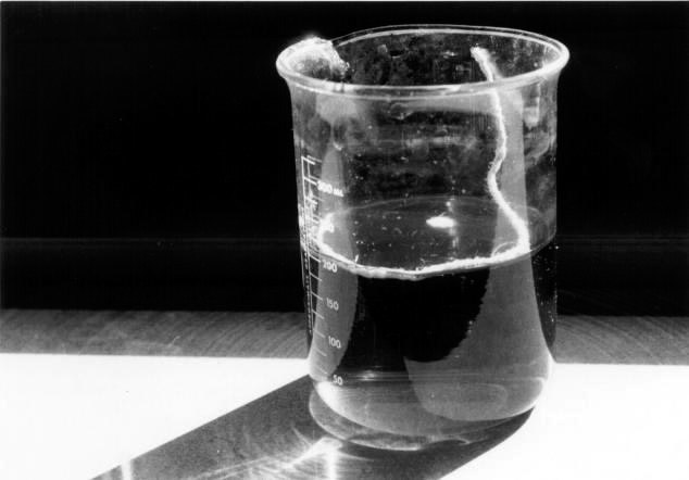 A black and white photo of a beaker