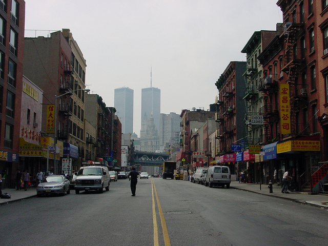 The Twin Towers viewed from Chinatown in 2001