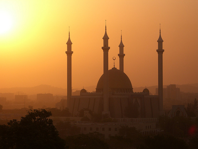 Harmattan winds giving a mosque in Abuja a golden glow