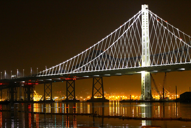 The east span of the Bay Bridge at night.