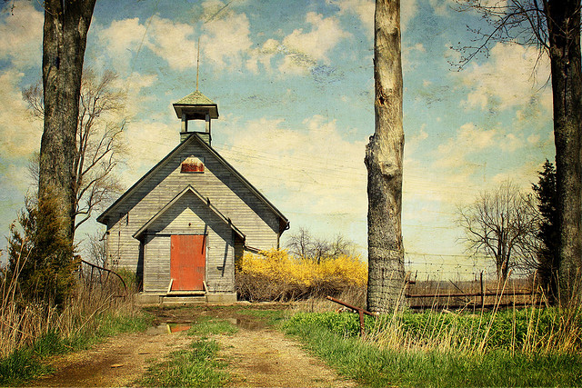 A decaying one-room schoolhouse.