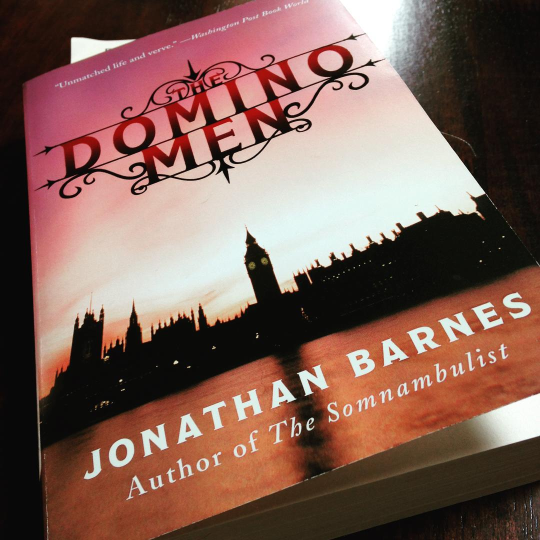 A grim London landscape on the cover of THE DOMINO MEN.