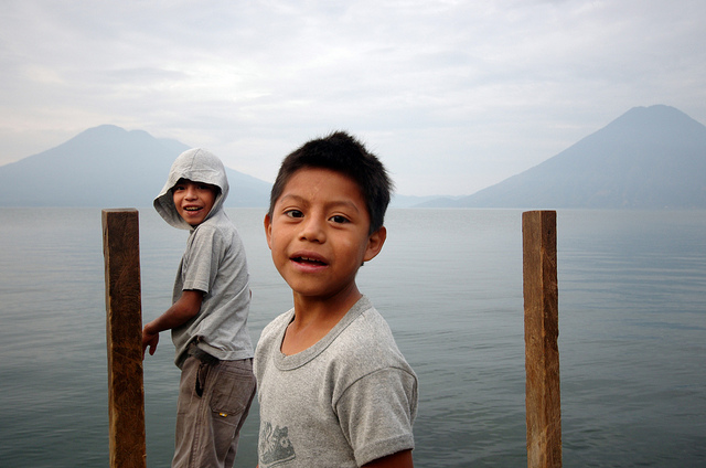 Children at the end of a dock.