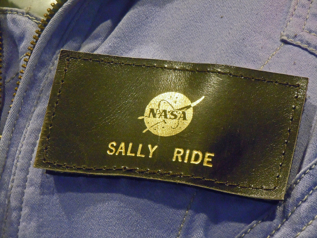 A closeup on Sally Ride's NASA nametag.