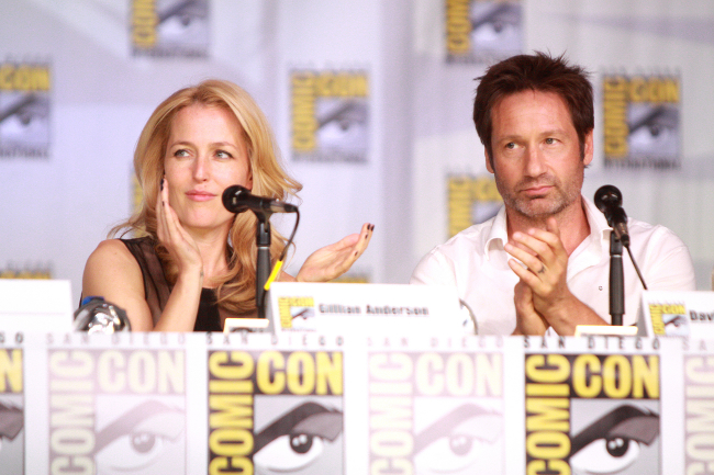 Gillian Anderson and David Duchovny appearing on a panel to promote the X-Files.