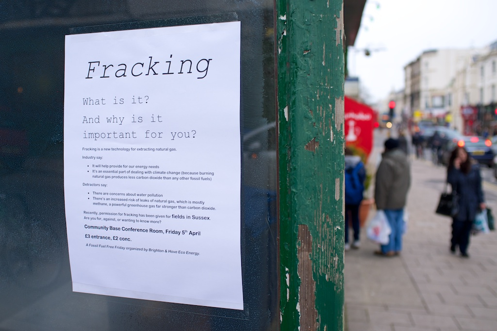 A poster advertising an informational event about fracking.