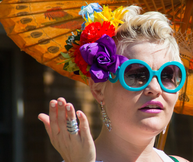 A person bedecked for pride.