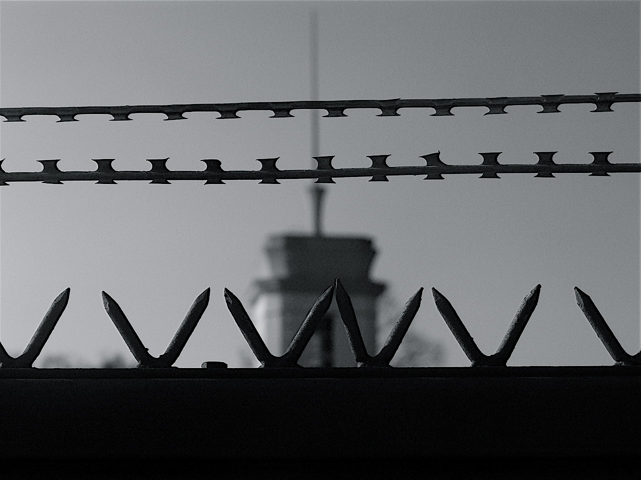 A razorwire fence at a prison.