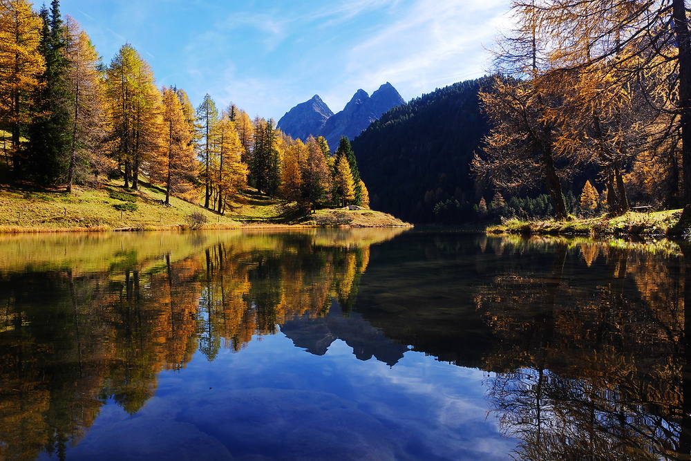 A Swiss lake surrounded by trees in fall colour.